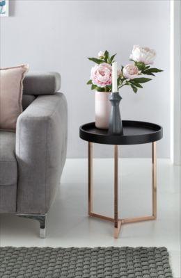 Wohnling Design Beistelltisch Schwarz / Kupfer ø 40 cm Tabletttisch ...