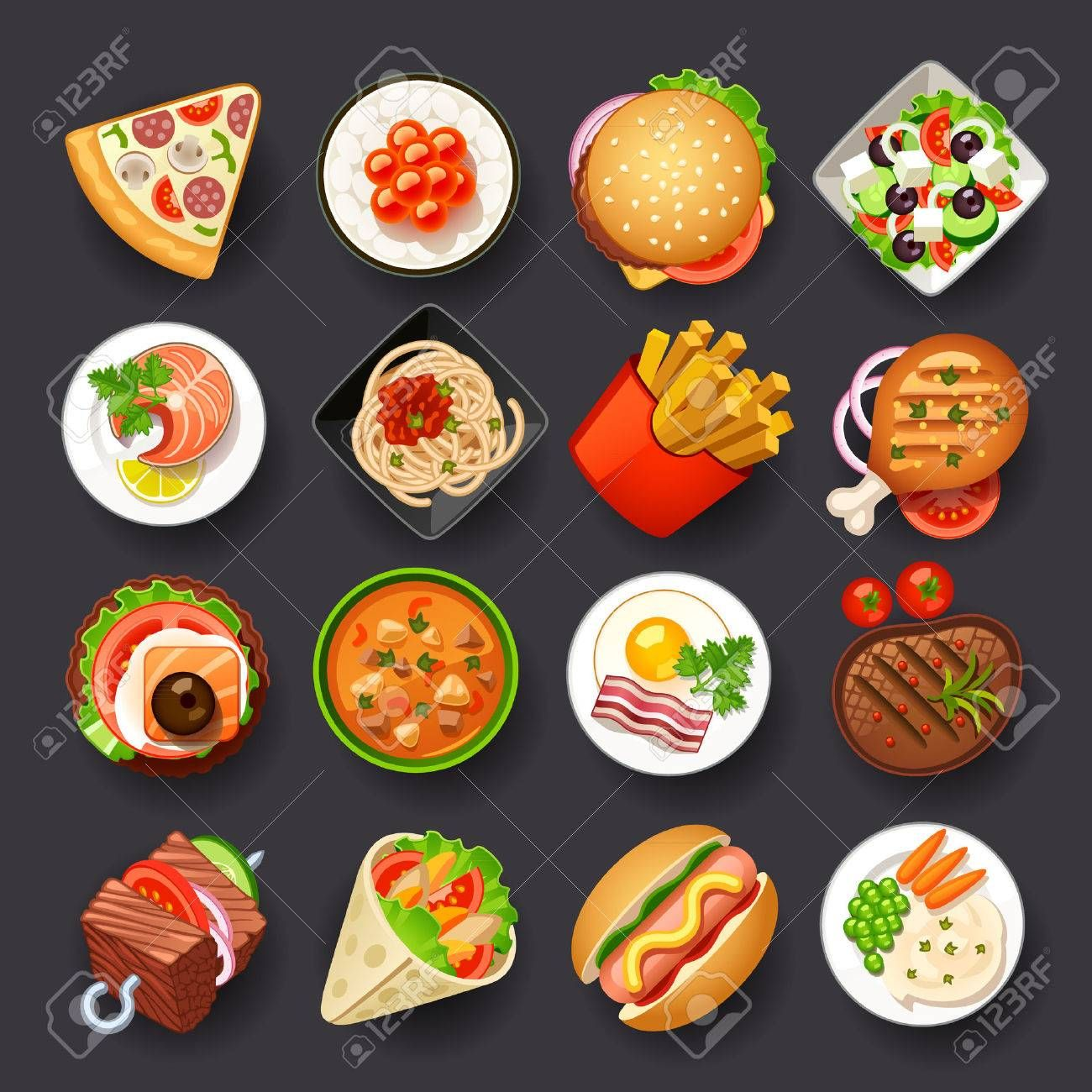 Dishes Icon Set Ad Dishes Icon Set Food Icons Vector Food Food Illustrations