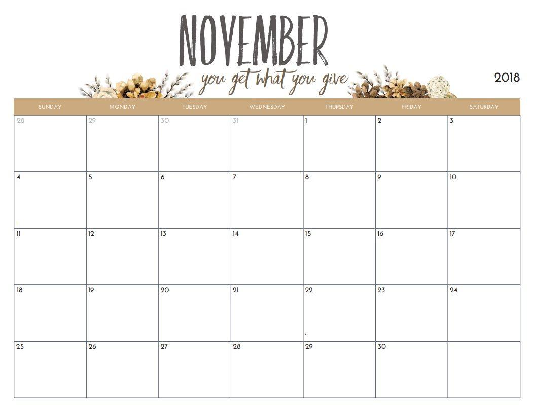 Free Printable 2018 Monthly Calendar Calendar 2018 November