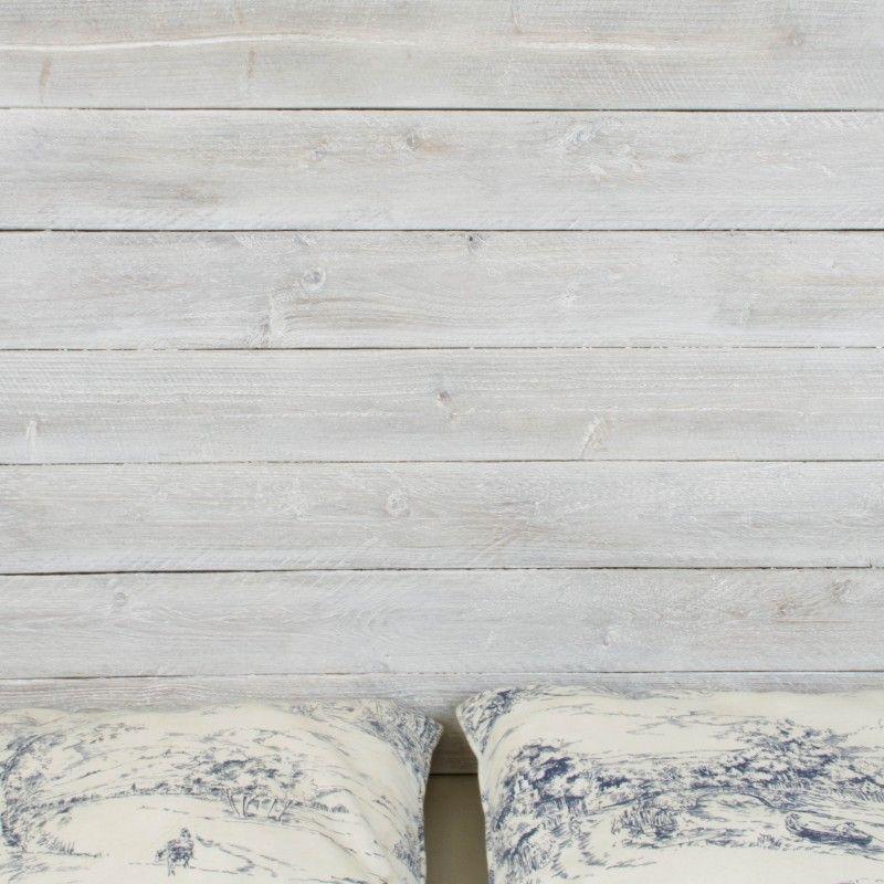Cabecero de madera rústica acabado envejecido blanco | Cabeceros ...