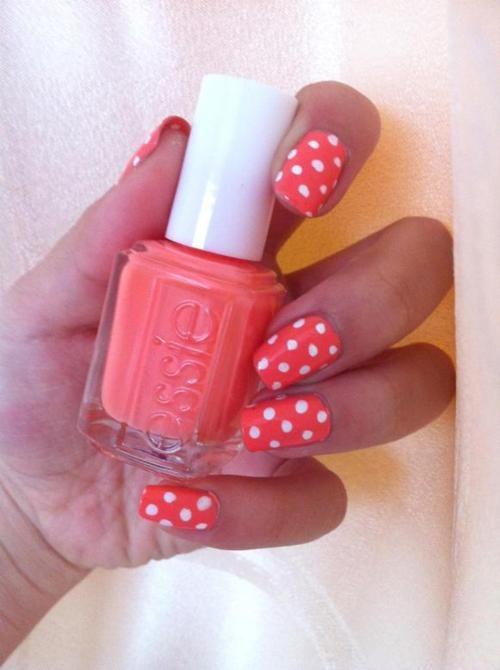Small Polka Dot Nail Art Two Color Colour Design Coral Peach Pink