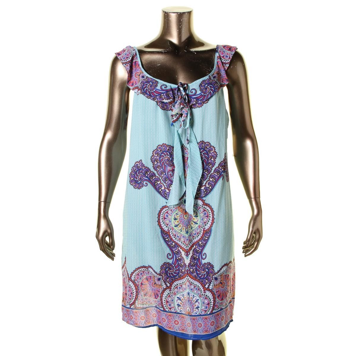 Love Squared Womens Plus Ruffled Paisley Print Tunic Dress