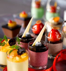 Shot glass desserts: Cheese Cake, Fruit Trifle, Chocolate Mousse, Strawberry & Mascarpone, Peppermint Crisp, Tiramisu, Ice Cream Popsicles. (Click through to the gallery for more serving ideas.) | party platters