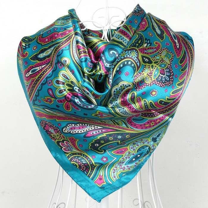 """Women/'s Twill Silk Satin Scar Fashion Scarf Hijab Shawl Square Headscarf 51/""""*51/"""""""