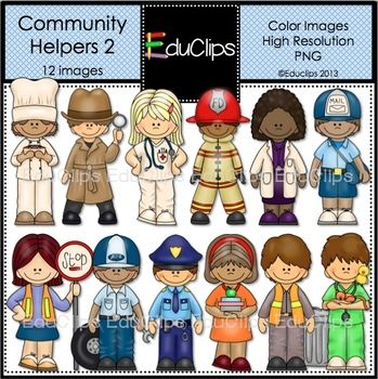Community Helpers 2 Clip Art (Educlips Clipart) | Community ...