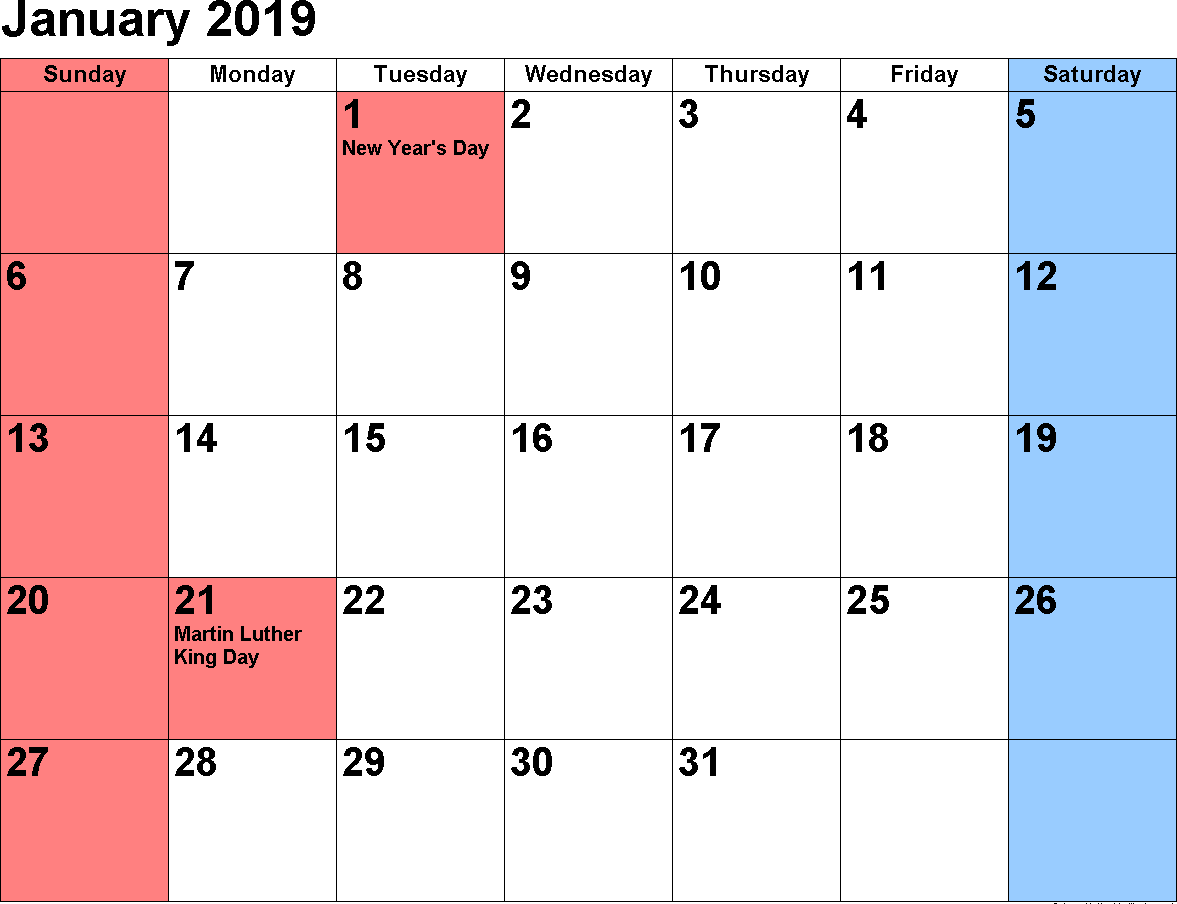 2019 January Calendar Printable Free Download January 2019