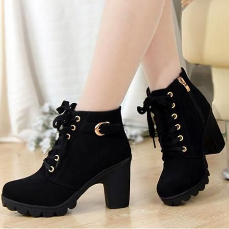 Womens Fashion High Heel Lace-up Thick Ankle Female Boots