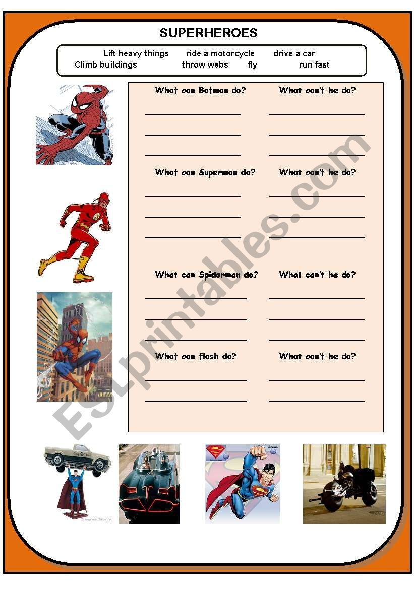 Practice The Modal Verb Can With These Superheroes Say What They Can Do And What They Can T Superhero Super Hero Activities Vocabulary Activities [ 1169 x 821 Pixel ]