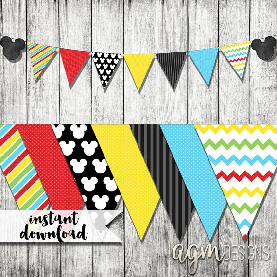 Mickey Mouse Banner, Mickey Mouse Printable, Mickey Mouse Printable Banner, Mickey Mouse Happy Birthday Banner