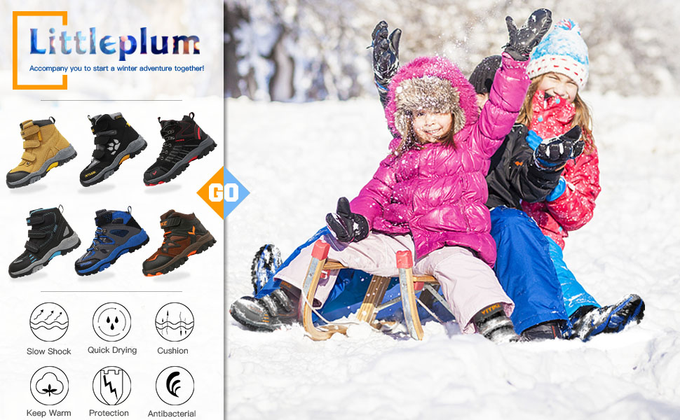 Toddler//Little Kid//Big Kid Littleplum Kid Snow Boots for Boys Snow Shoes Winter Boots for Girl Sneaker Hiking Boots Outdoor Anti-Slip Boots