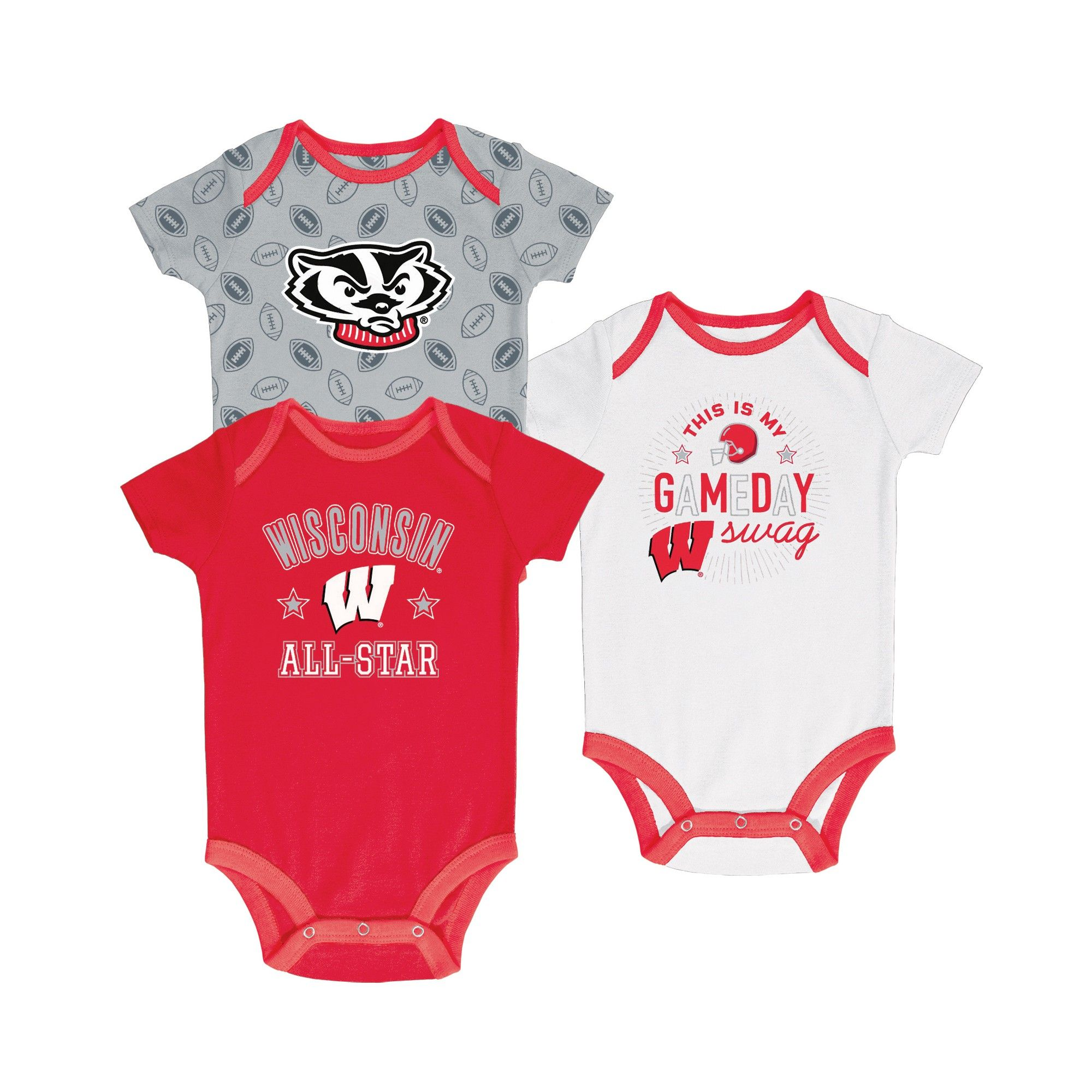 OuterStuff NCAA Infant Girls Wisconsin Badgers 3 Piece Bodysuit Set