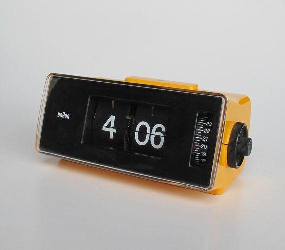Vintage Flip Clock Alarm Braun Phase 2 Orange Table By Trich Lubs