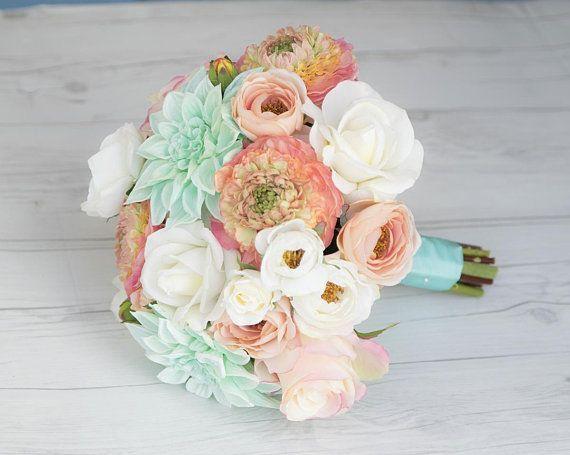 Coral Wedding Bouquet, Peach Bouquet, Rustic Bouquet, Beach Wedding Bouquet, Peony Bouquet, Bride Bouquet, Wedding Bouquet, Aqua Bouquet