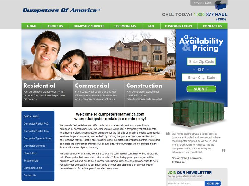 Dumpsters of america provides fast reliable and