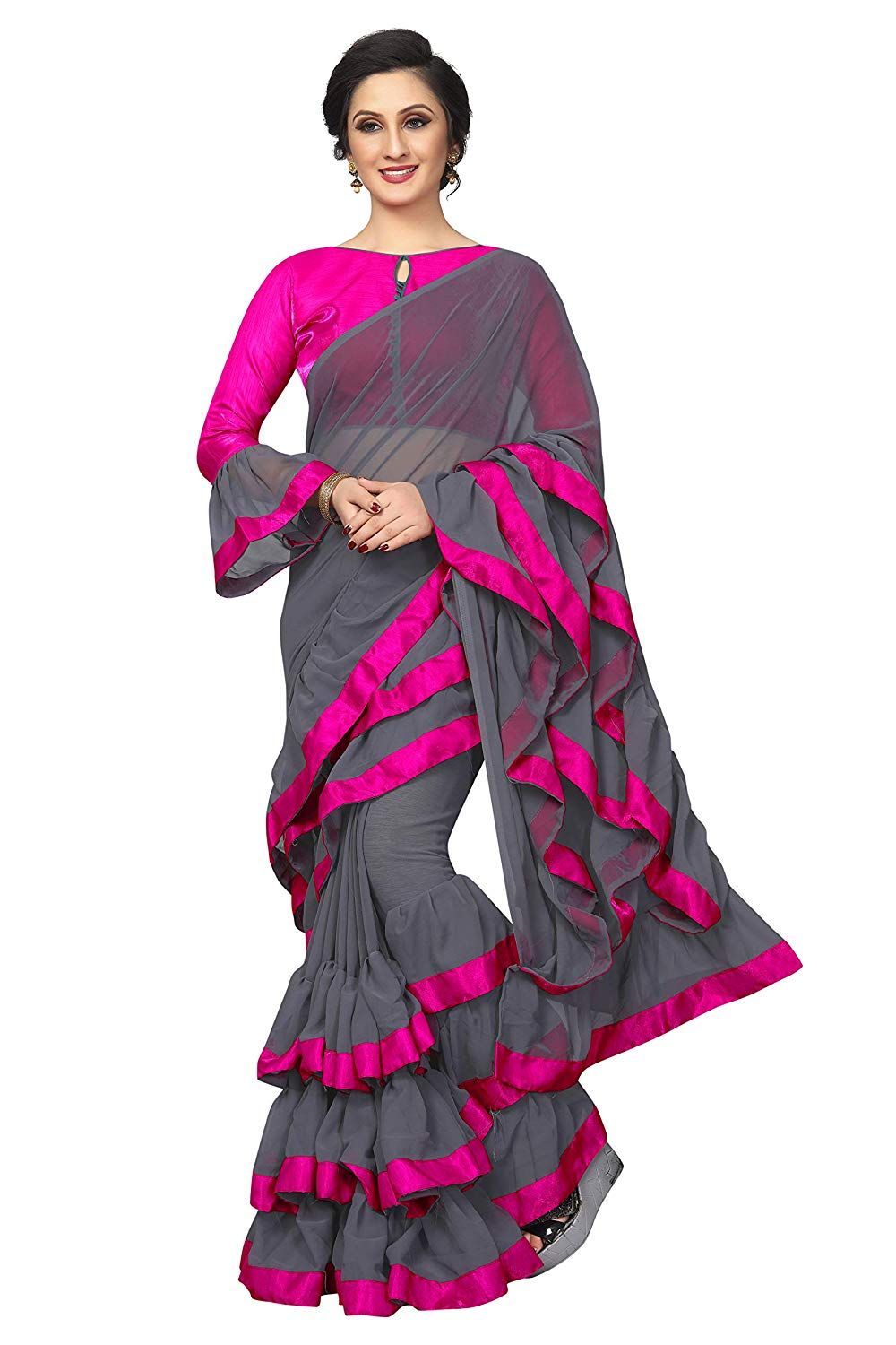 150fa13f25 Care Instructions: Dry Clean Only Georgette Designer with Length Max up to  5.5 Mtr &