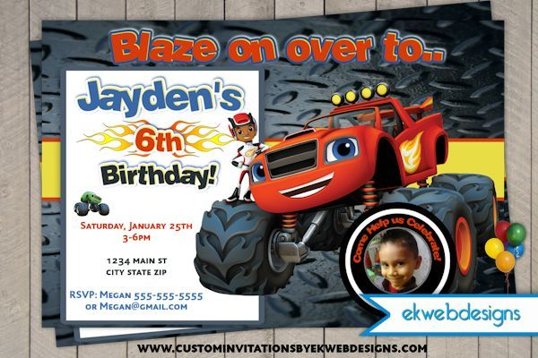 Blaze And The Monster Machines Birthday Invitations