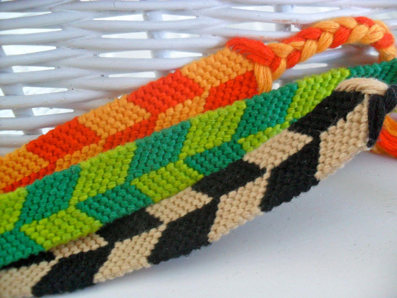 Chevron bracelet - Checkerboard Chevron Friendship Bracelets Green Orange Neutral Black And Tan