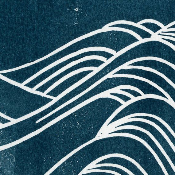 Japanese Waves Linocut Art Print 8x10 Navy Water Pattern ...