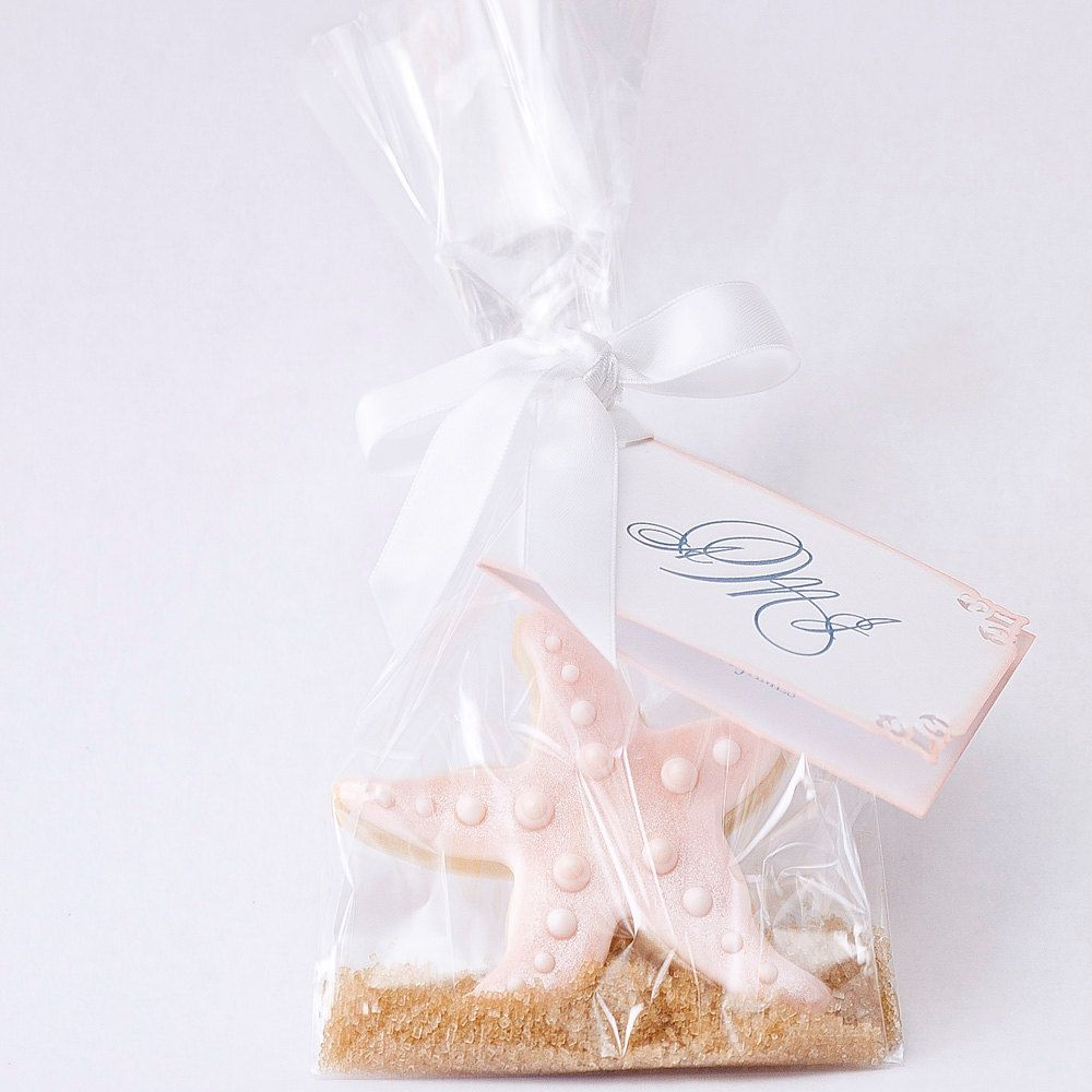 Starfish Beach Wedding Favors. Cookie with graham cracker crumbs as ...
