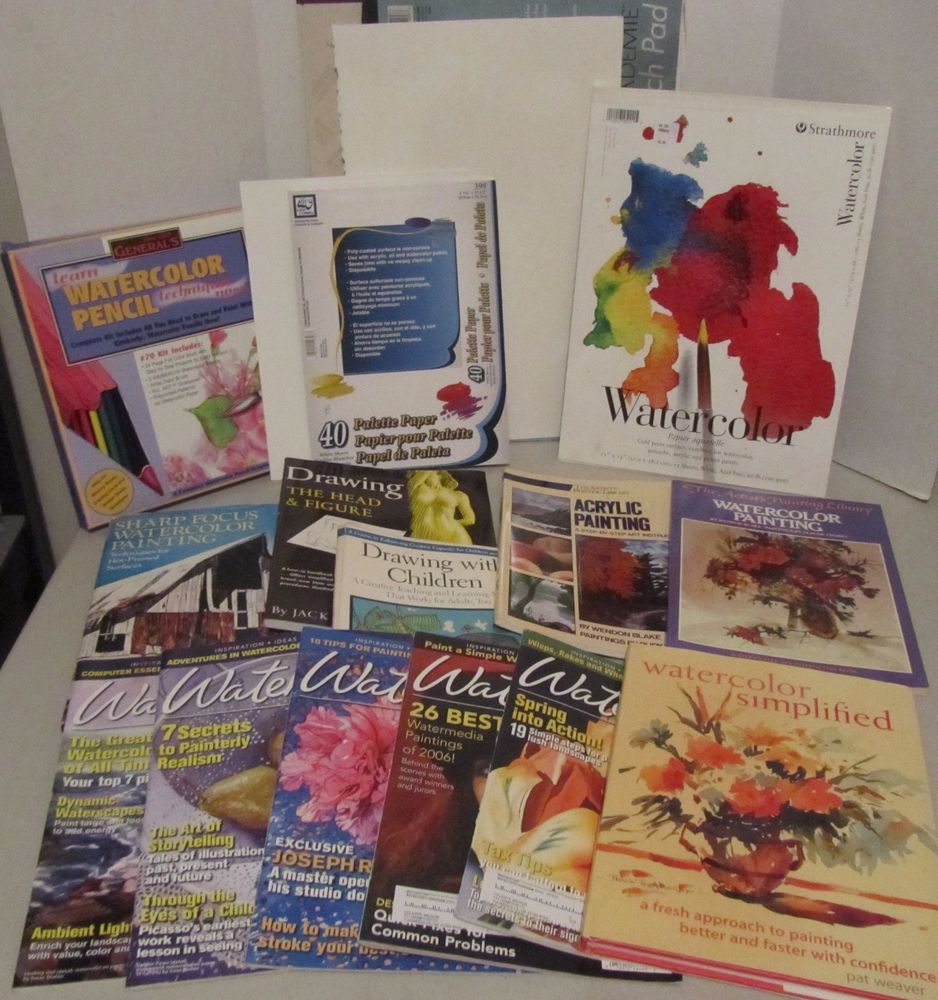 watercolor art supply lot instructional books pencils pallet paper