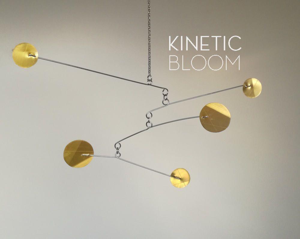 Brass mobile 39 heart over matter 39 kinetic mobile calder style mid century modern by - Mid century mobel ...