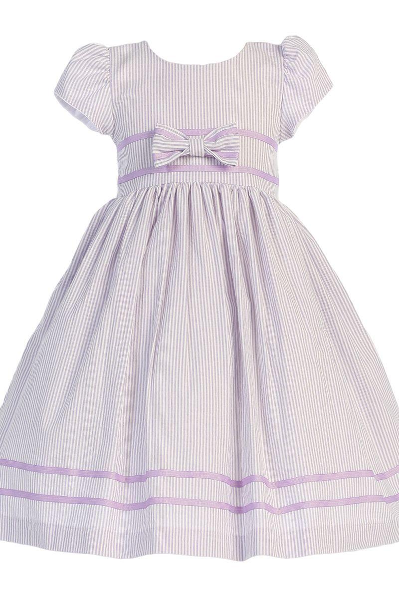 Girls Lilac Cotton Seersucker Dress W Navy Trim 3m 7