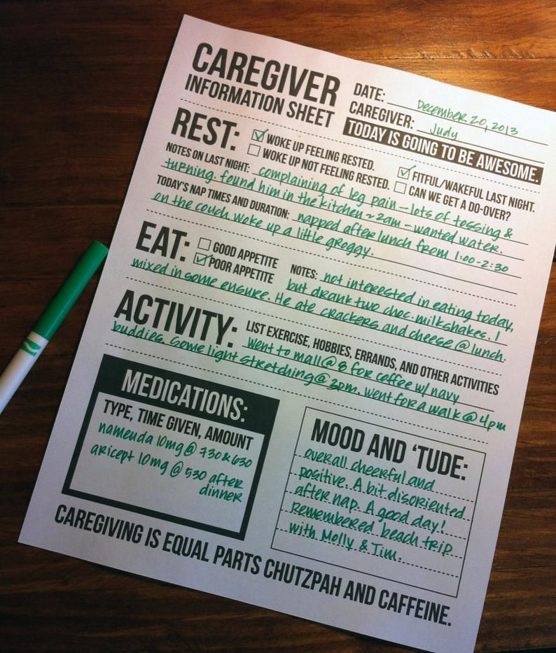 Caregiver information sheet for individuals with dementia