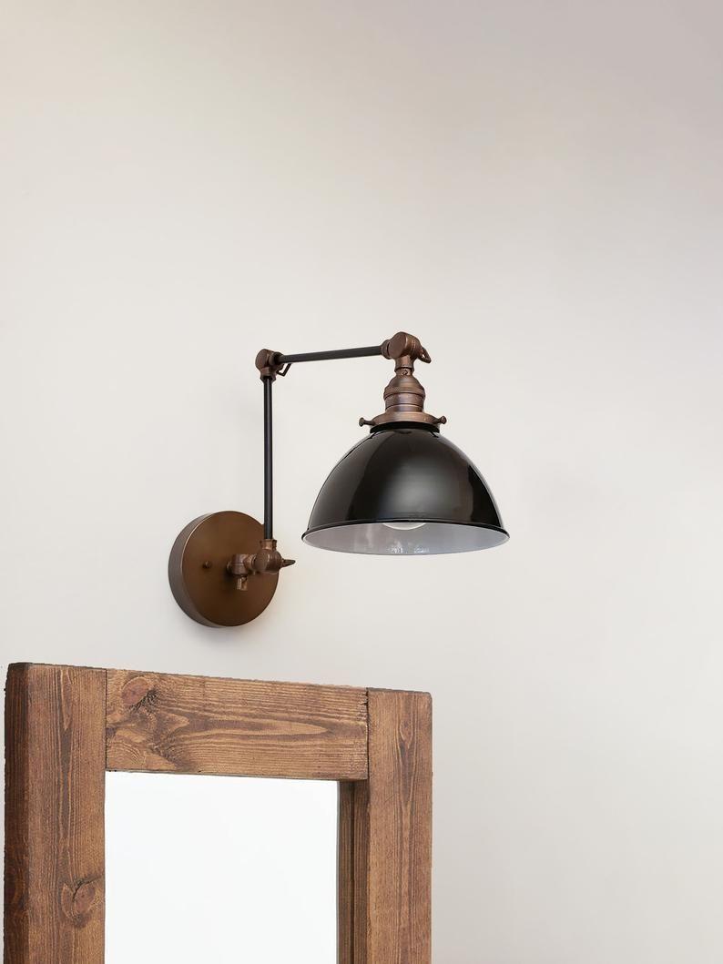 Swing Arm Adjustable Wall Light Industrial Sconce Black Etsy In 2020 Adjustable Wall Light Industrial Wall Lights Wall Lights