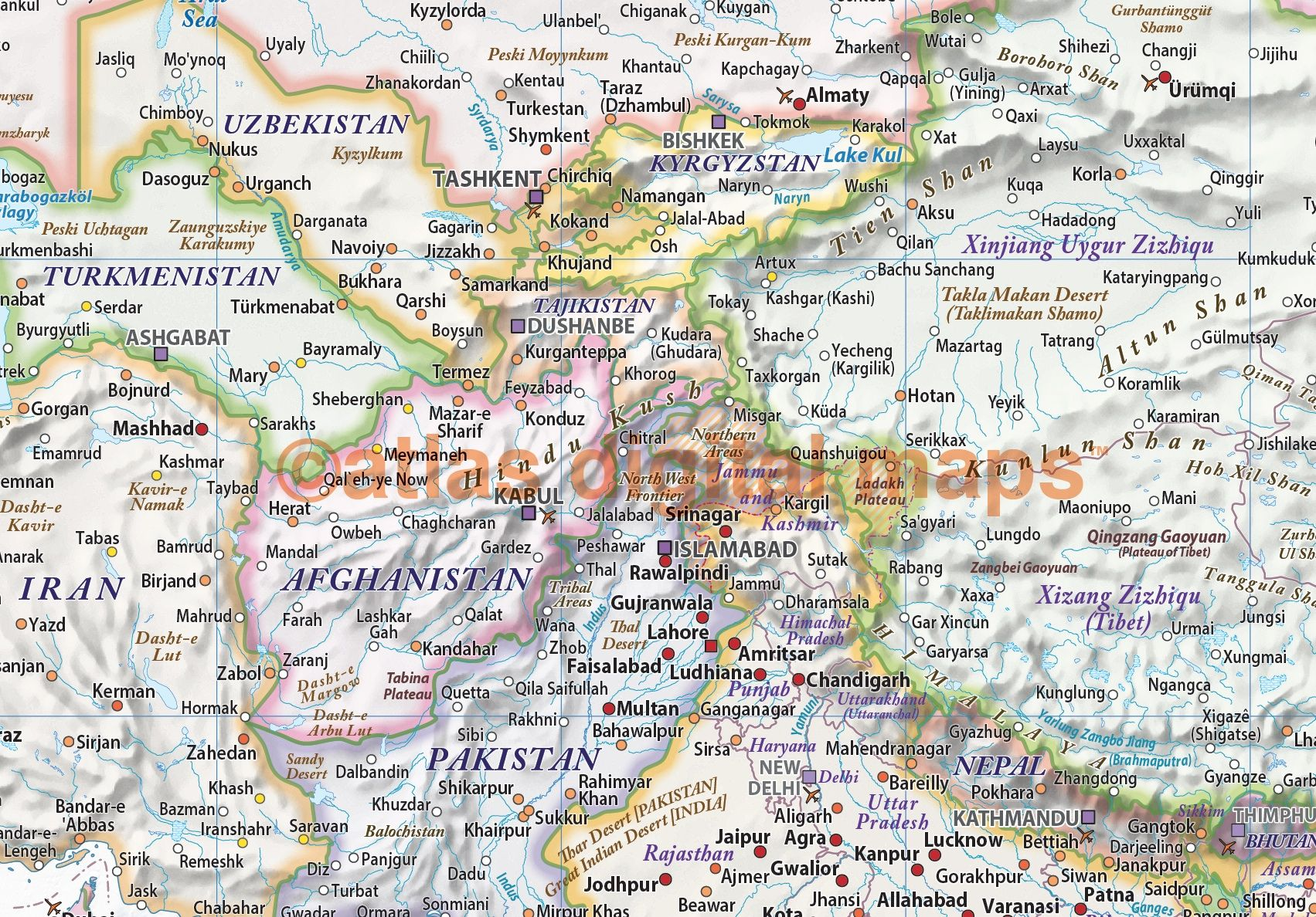 Political And Relief Map Of Central Asia In Light Pastel Colours - Central asia political map
