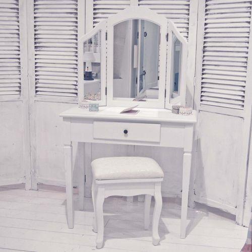 Coiffeuse coiffeuse YORK, blanc, 3 niveaux, 2 de charnière, moderne - meuble coiffeuse avec miroir pas cher