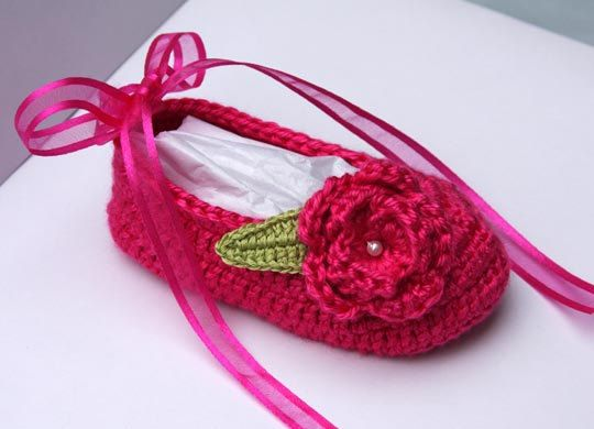 Crochet Baby Ballerina Slippers in Magenta by LeftyStitches on Etsy.com