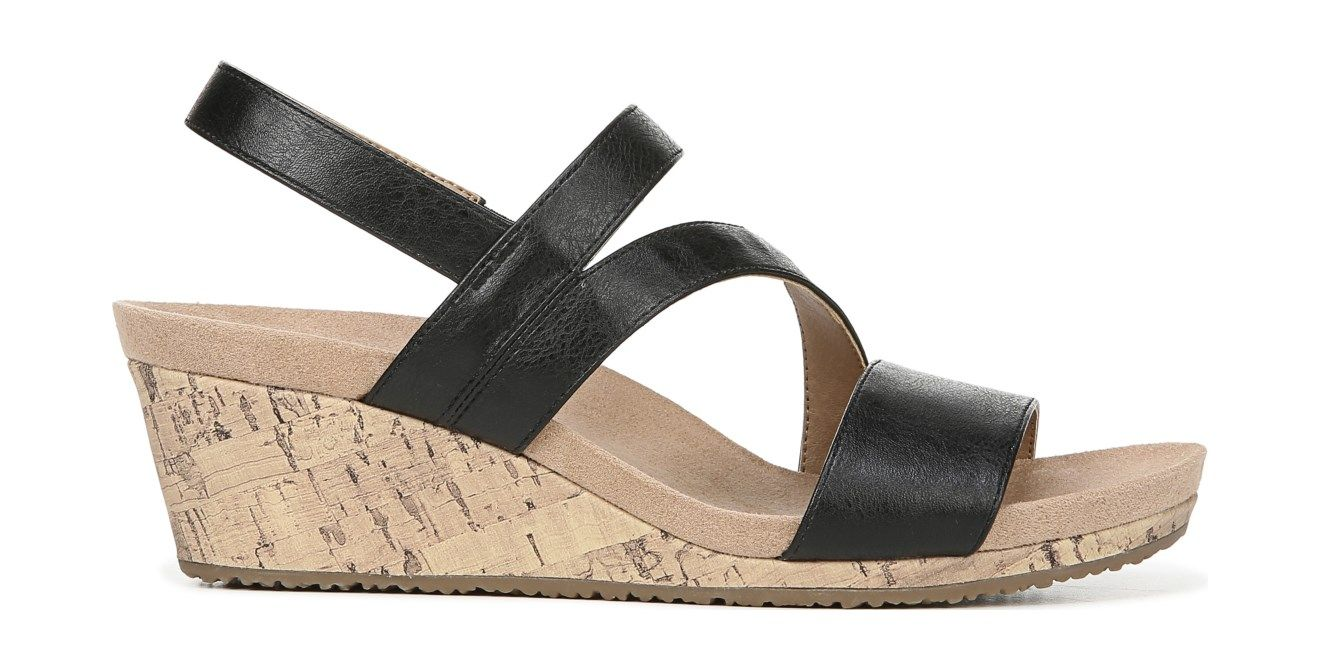 02a0608455 LifeStride Milly Medium/Wide Wedge Sandal Black Black Wedge Sandals, Wedge  Heels, Open