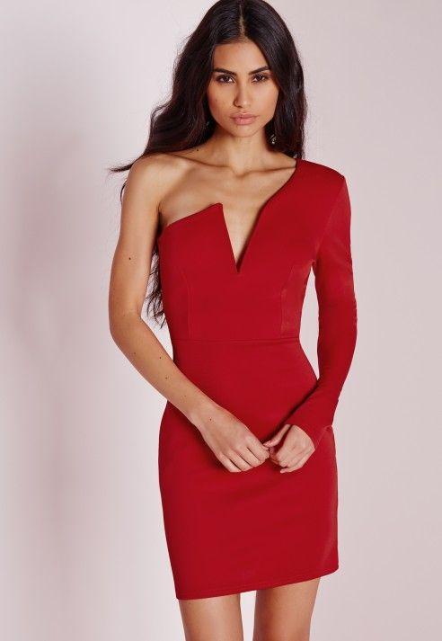 One Sleeve Bodycon Dress Red - Dresses - Mini Dresses - Bodycon Dresses -  Evening Dresses - Missguided 3efd776e5
