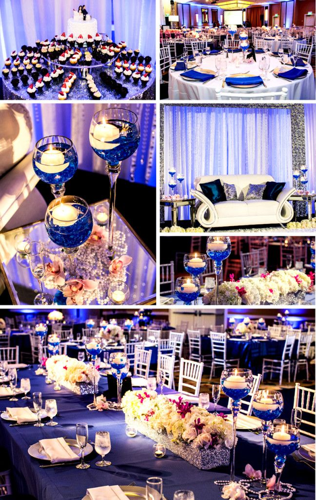 Blue wedding reception decor | Royal Blue, Ivory, White and a touch ...