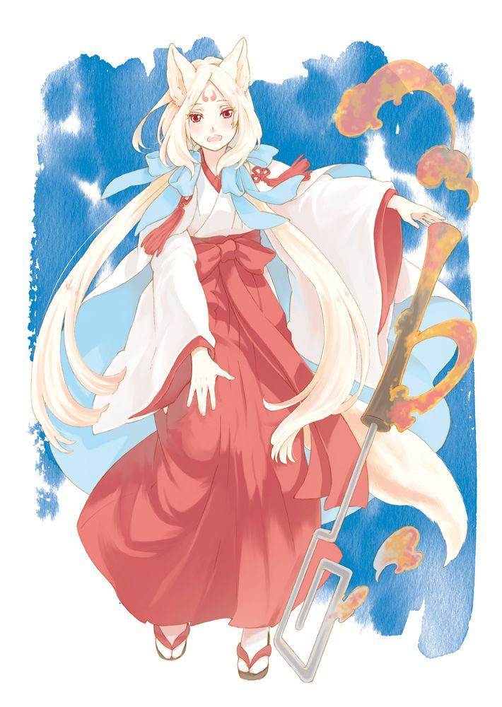 Anime White Kitsune anime girl as kitsune ...