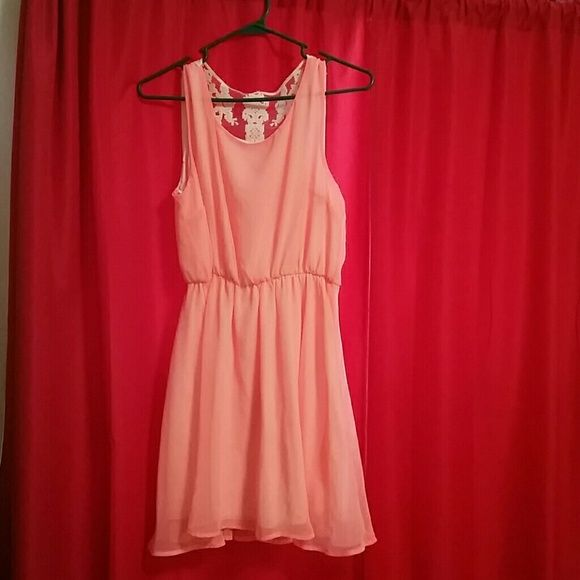 Coral Dress Neon Coral Dress! Brand New, Never Worn!!! Chiffon material, fully lined with lace detailing on the back! Dresses Mini