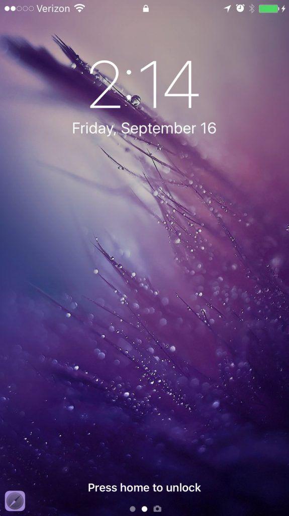 Ios 10 New Lock Screen Rain Wallpapers Iphone 5s Wallpaper Purple Wallpaper