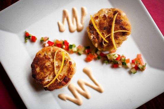 Crab cakes served with Dijon aioli.
