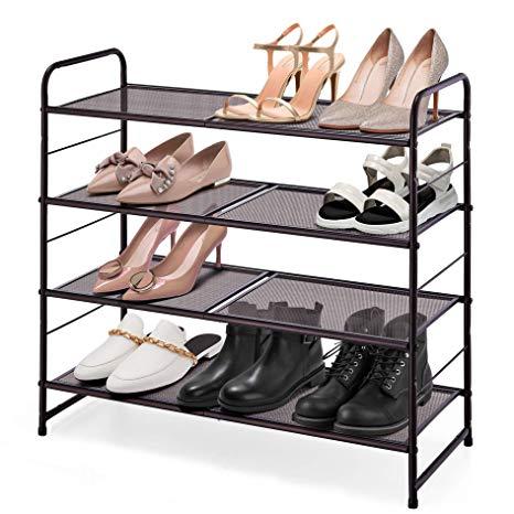 Amazon Com Simple Trending 4 Tier Stackable Shoe Rack Expandable
