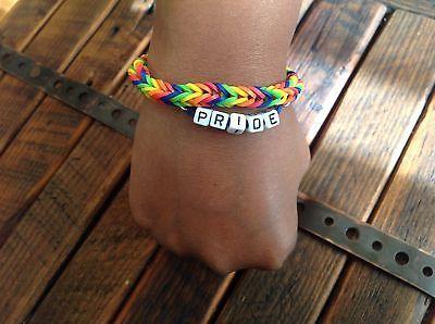 Gay/Lesbian Pride LOOM Rubber Band Bracelet Great Gift