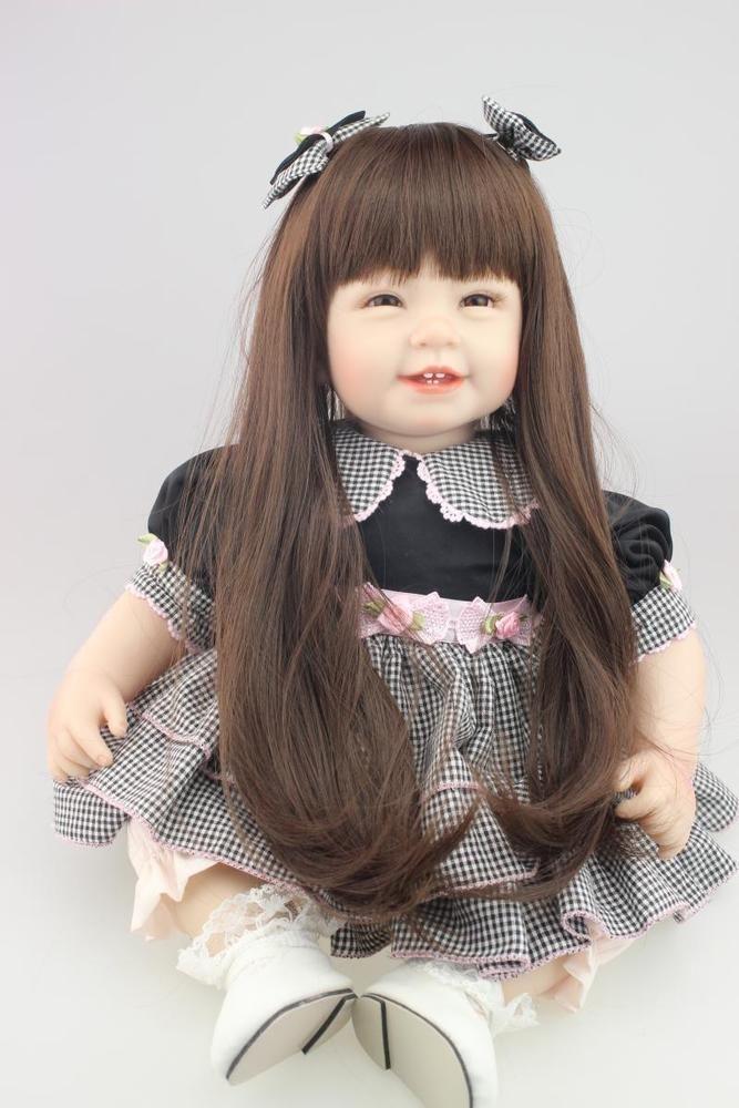 22 Handmade Reborn Doll Lifelike Princess Girl Vinyl Long Hair Baby Cute Gift Real Looking Baby Dolls Silicone Reborn Babies Realistic Baby Dolls