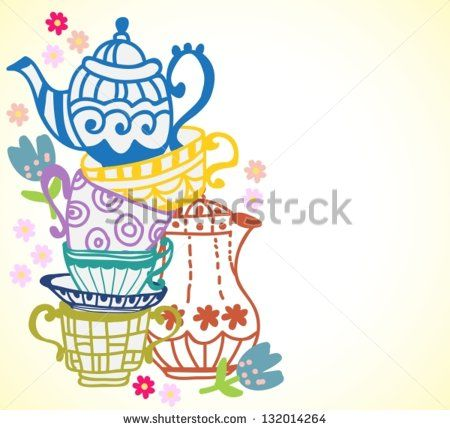 tea cup background with teapot, illustration for design, vector - stock vector