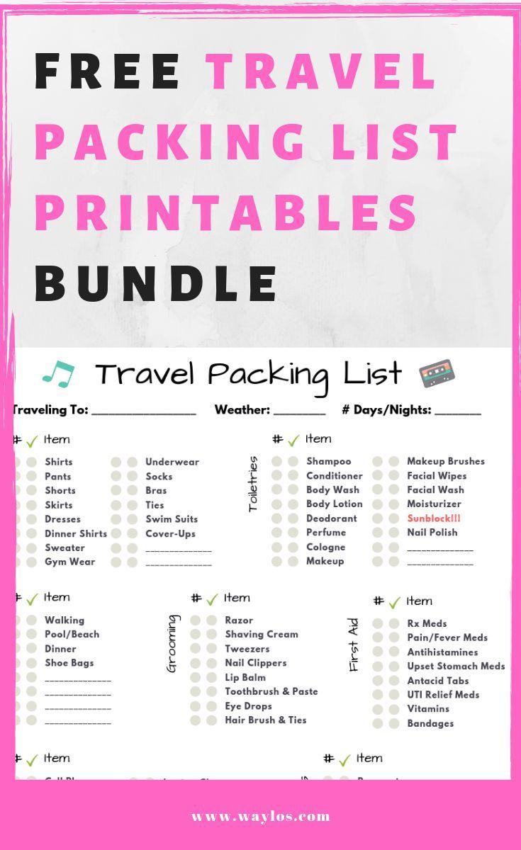 Free printable packing list bundle this bundle has a pre