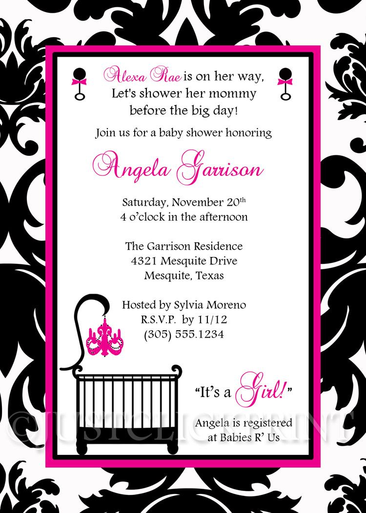 Elegant White Black Hot Pink Damask Baby Shower Invitation Printable ...