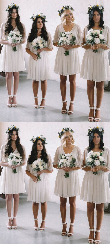 Semi formal dresses for wedding reception  ALine VNeck Above Knee White Chiffon Bridesmaid Dress  Pinterest