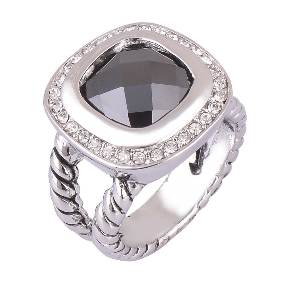 Gitzwart steen touw band stijl vrouwen fashion ring sieraden vintage grote ring