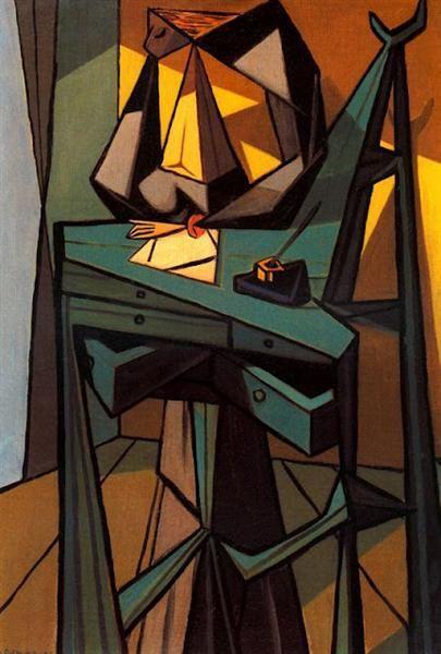 Mujer en el escritorio, 1943. Cubismo - Óscar Domínguez