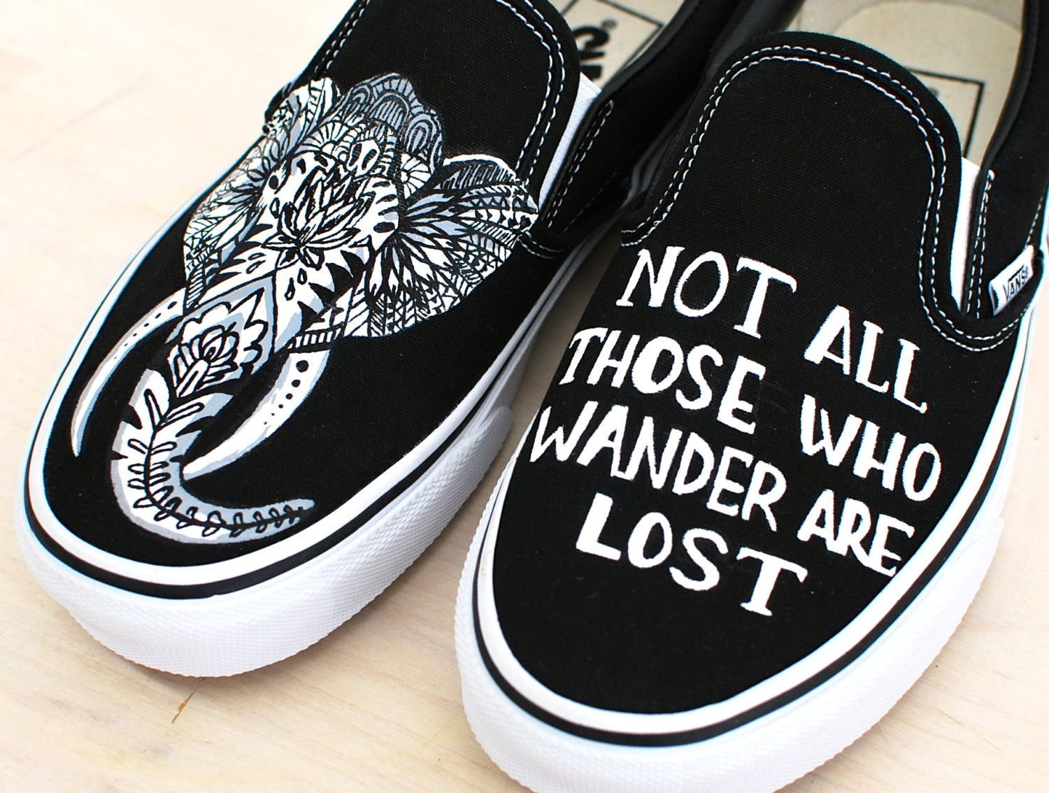 Custom Hand Painted Elephant Vans - Not All Those Who Wander Are ... 221ff6ac6