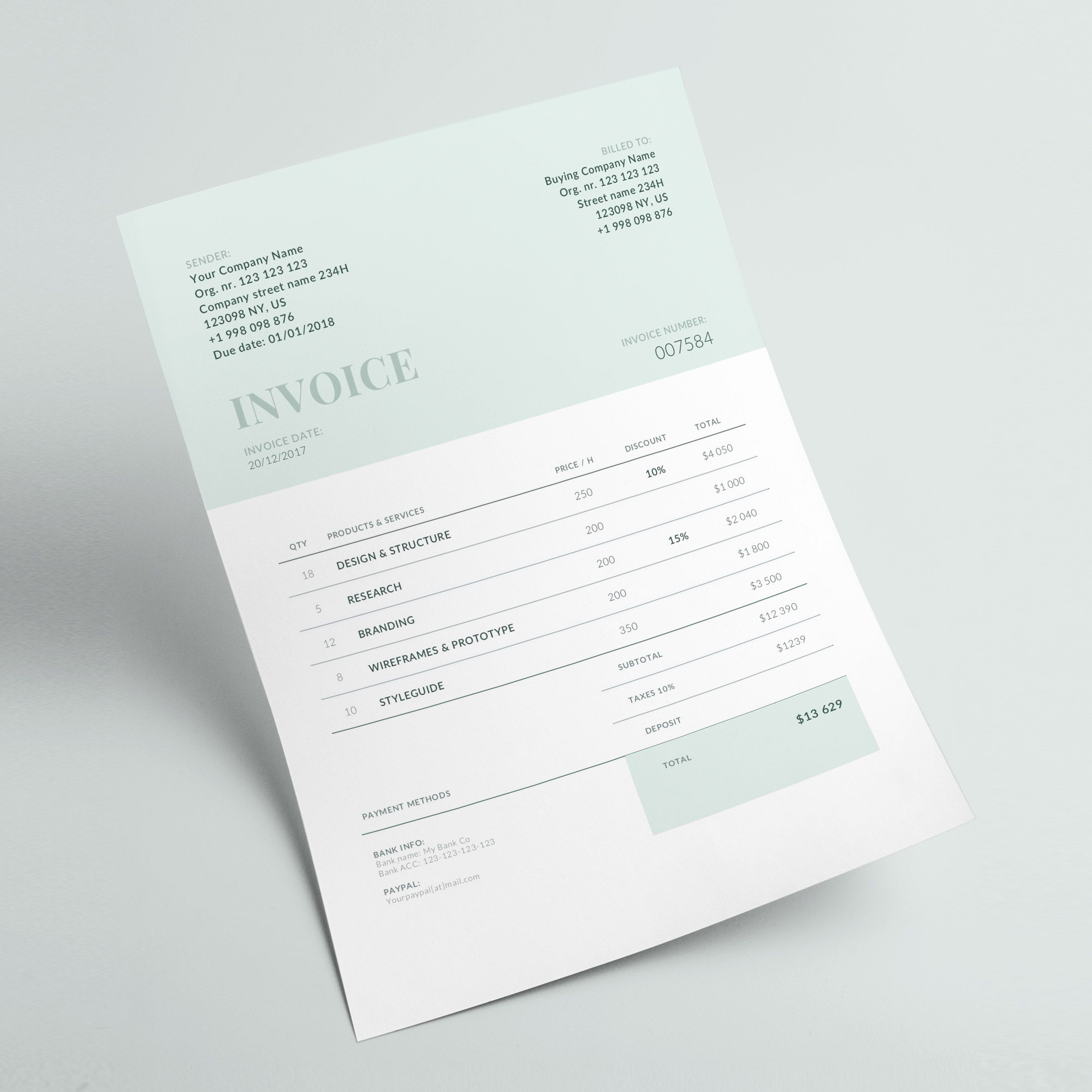 Invoice Template Business Invoice Receipt Template Etsy Invoice Template Invoice Design Invoice Design Template