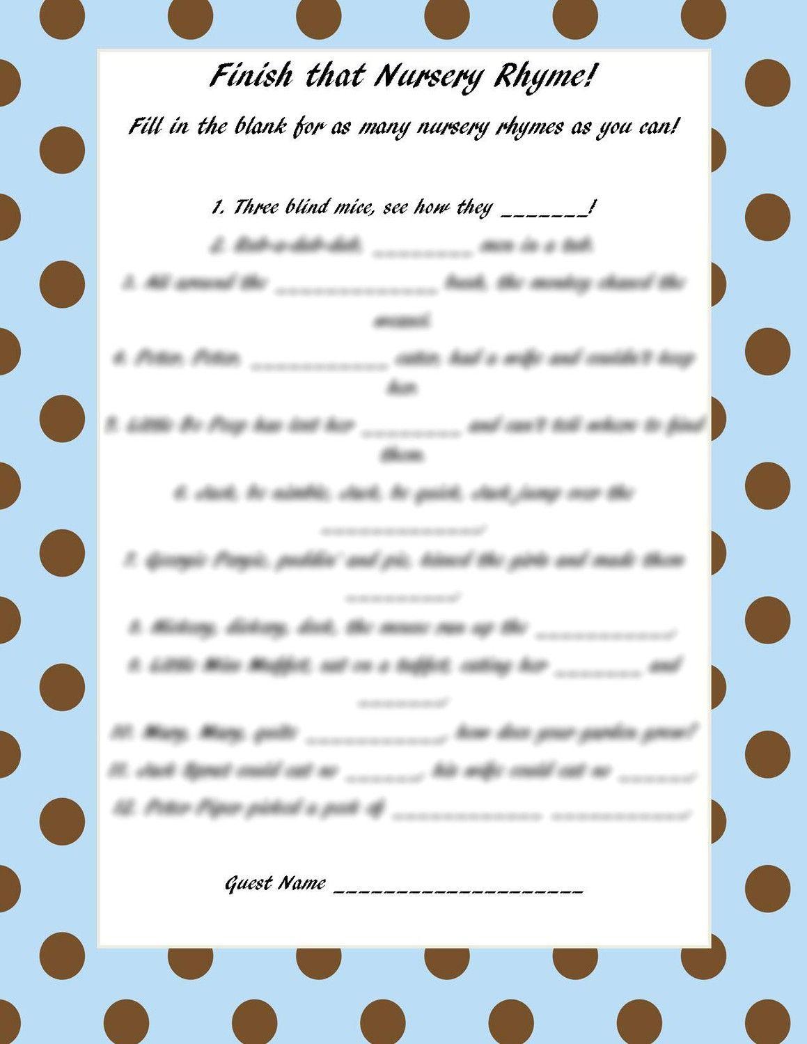 Finish That Nursery Rhyme Pink White Polka By Craftygirlcreationz